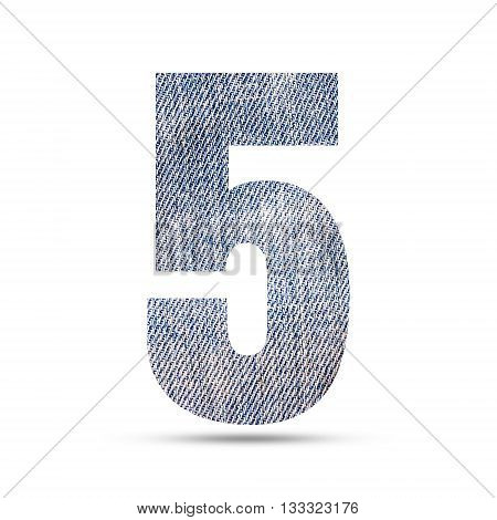 Number 5 (five) with blue jeans texture background.