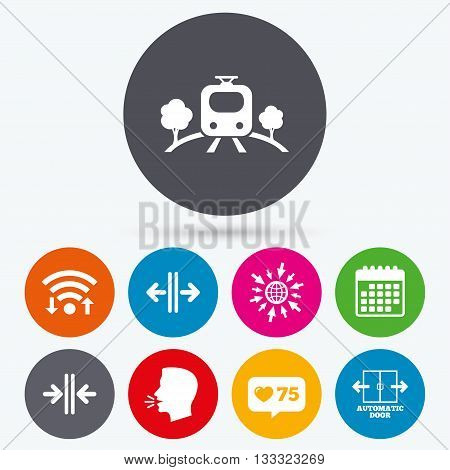 Wifi, like counter and calendar icons. Train railway icon. Overground transport. Automatic door symbol. Way out arrow sign. Human talk, go to web.