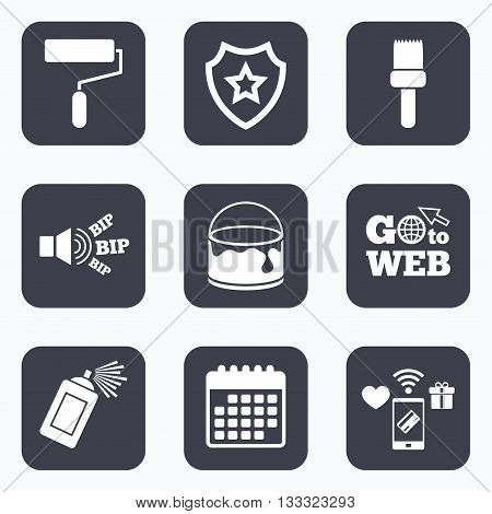 Mobile payments, wifi and calendar icons. Painting roller, brush icons. Spray can and Bucket of paint signs. Wall repair tool and painting symbol. Go to web symbol.