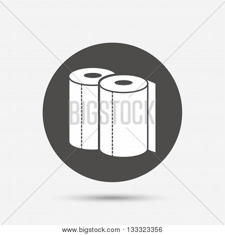 Paper towels sign icon. Kitchen roll symbol. Gray circle button with icon. Vector