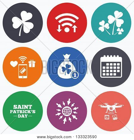 Wifi, mobile payments and drones icons. Saint Patrick day icons. Money bag with clover and coin sign. Trefoil shamrock clover. Symbol of good luck. Calendar symbol.