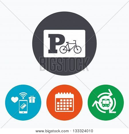 Parking sign icon. Bicycle parking symbol. Mobile payments, calendar and wifi icons. Bus shuttle.