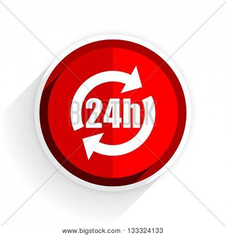 24h icon, red circle flat design internet button, web and mobile app illustration