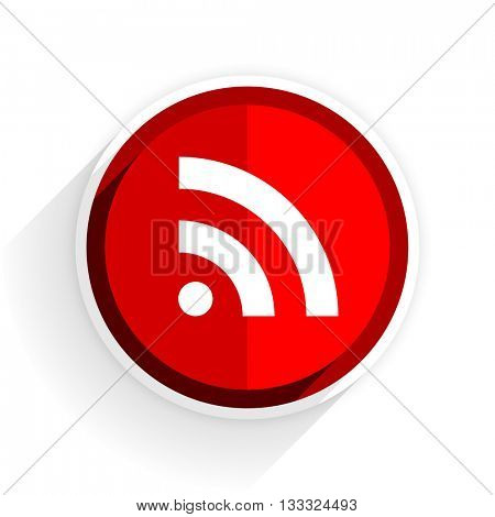 rss icon, red circle flat design internet button, web and mobile app illustration