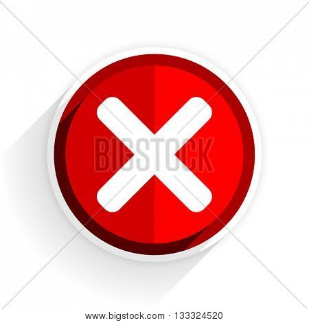 cancel icon, red circle flat design internet button, web and mobile app illustration