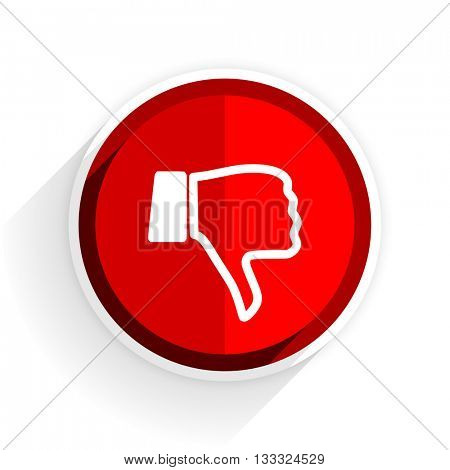 dislike icon, red circle flat design internet button, web and mobile app illustration