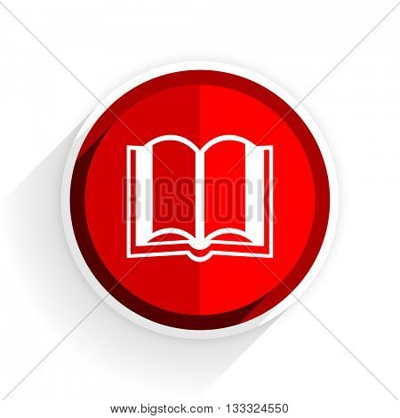 book icon, red circle flat design internet button, web and mobile app illustration