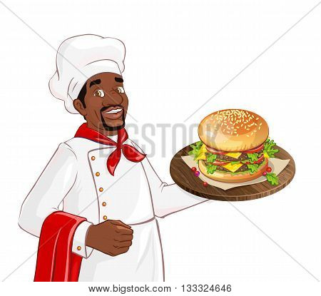 Chef holding burger on a tray. Isolated african american character on white background. Man serving in a restaurant, cafe.