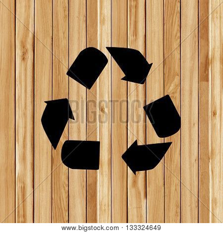 Recycle old wood. The wooden texture background with recycle symbol