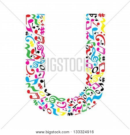 U letter made of colorful musical notes on white background. Alphabet for art school. Trendy font. Graphic decoration.