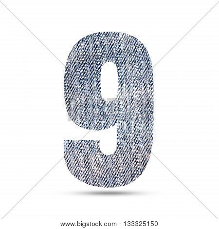 Number 9 (nine) with blue jeans texture background.