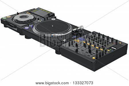 Professional black table dj mixer music equipment. 3D graphic