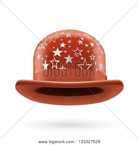 Brown round bowler hat with silver glistening stars.