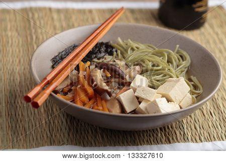 Japanese shiitake, soba, and tofu soup