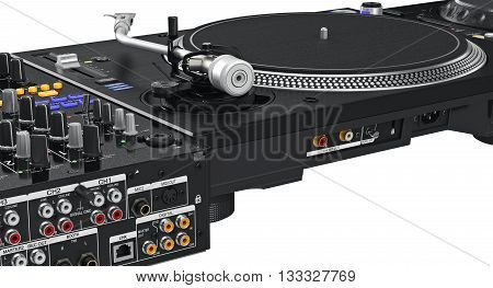 Back side black panel turntable vinyl player, close view. 3D graphic
