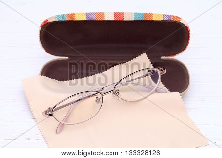 Ladies glasses and case with glasses cleaning cloth