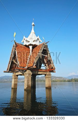 The sunken temple, a famous landmark in Sangkhla Buri District, Kanchanaburi, Thailand