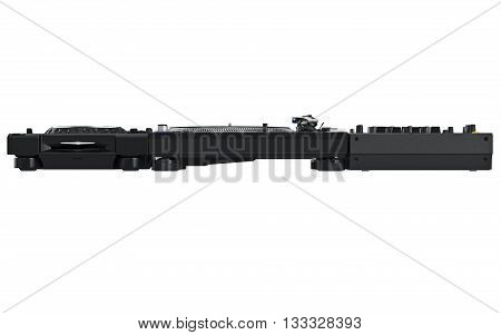 Dj music mixer table set, black professional equipment, front view. 3D graphic