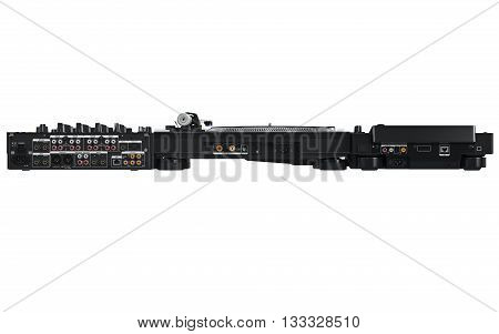 Dj music mixer table set, black professional equipment, back view. 3D graphic