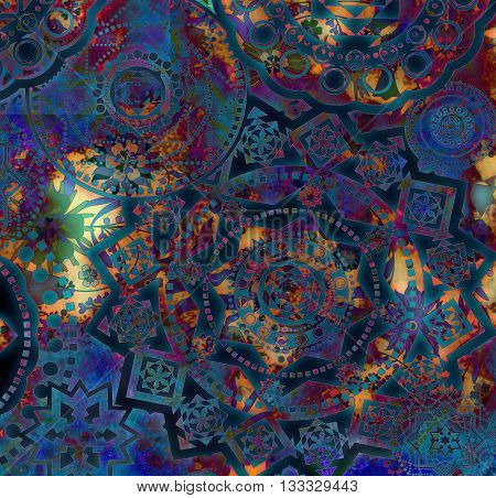 motley abstract geometrical pattern with floral elements