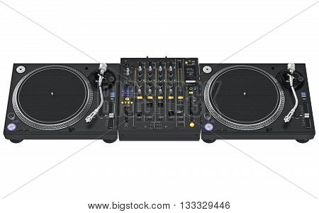 Vinyl player set with table, dj mixer, music equipment. 3D graphic