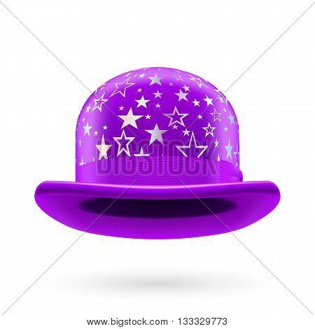 Violet round bowler hat with silver glistening stars.