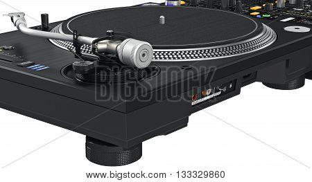 Backside black panel dj table mixer, ports, controllers, close view, close view. 3D graphic