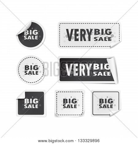 Set of stickers with inscription big sale on white background. Round, square, rectangular. Vector illustration