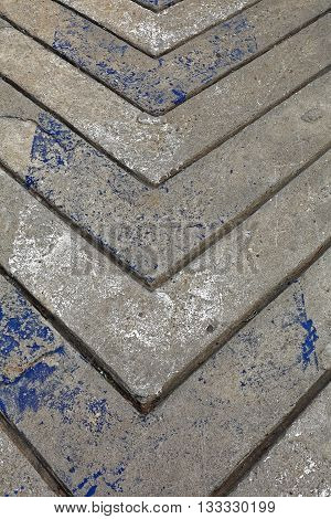 Concrete Cement Driveway With Arrow Lines Pattern