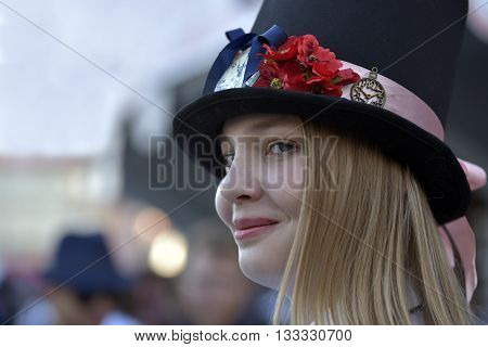 NOVOSIBIRSK RUSSIA - JUNE 4 2016: Female student in stage costume takes part in the urban youth festival
