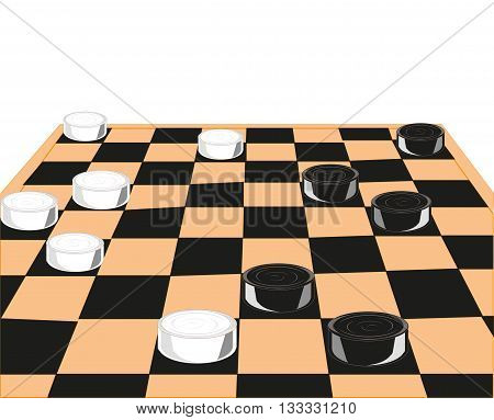 Chess board and checkers on white background is insulated