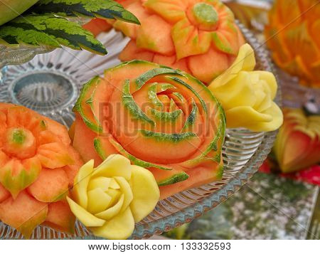 Fruit carving food sculpture art display of selection of carved items