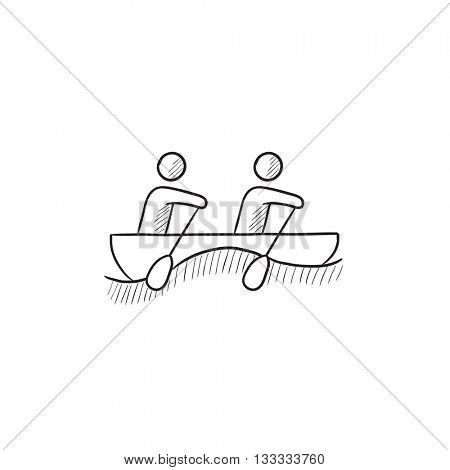 Tourists sitting in boat vector sketch icon isolated on background. Hand drawn Tourists sitting in boat icon. Tourists sitting in boat sketch icon for infographic, website or app.