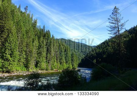 The Lochsa River flows through a wilderness area in northern Idaho.