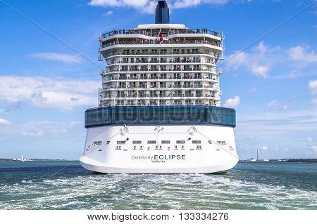Celebrity Eclipse, Southampton/UK, June 2012. A cruise ship has just departing Southampton Docks.