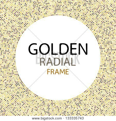 Vector gold disco lights frame or spangles round frame with empty center for text. Gold circle made of tiny uneven dots abstract background. Golden blobs textured round frame on black backdrop