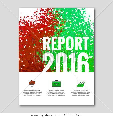 Business report design background with colorful red green dots, simulating watercolor. Dotwork Brochure Cover Magazine template, vector illustration.