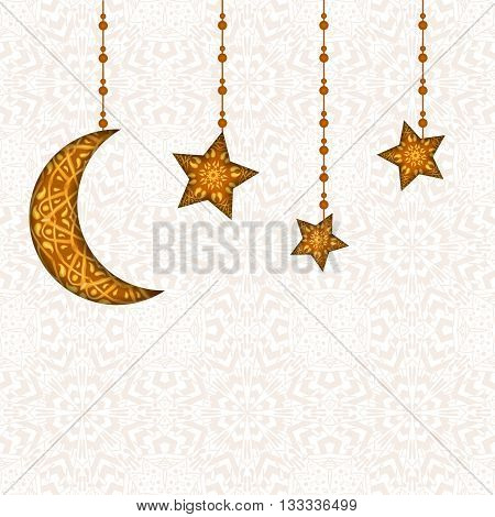Ramadan Kareem greeting card. May Generosity Bless you during the holy month. Vector illustration of floral design decorated crescent moon on creative background for Islamic Festival celebration