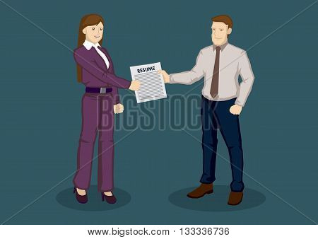 Cartoon businessman handing over resume to business woman in person. Vector illustration on resume submission for job application concept isolated on green background.