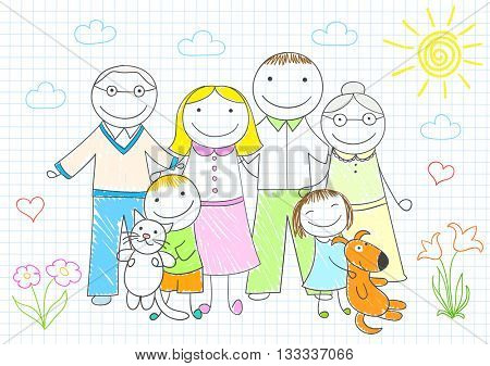 Happy family - mother, father, son, daughter, grandmother, grandfather. Vector sketch on notebook page on doodle style