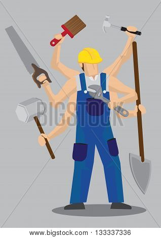 Vector illustration of a cartoon construction worker character in blue overall and yellow helmet with multiple arms holding a variety of work tools.