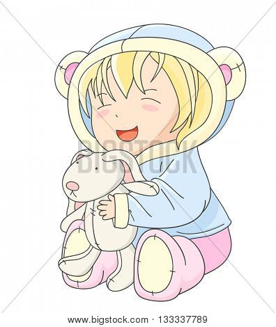 Happy little baby in jacket with hood of blue color and soft boots of pink color, playing with toy rabbit. In kawaii style