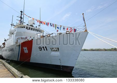 NEW YORK - MAY 26, 2016: United States Coast Guard Cutter Forward docked in Brooklyn Cruise Terminal during Fleet Week 2016 in New York