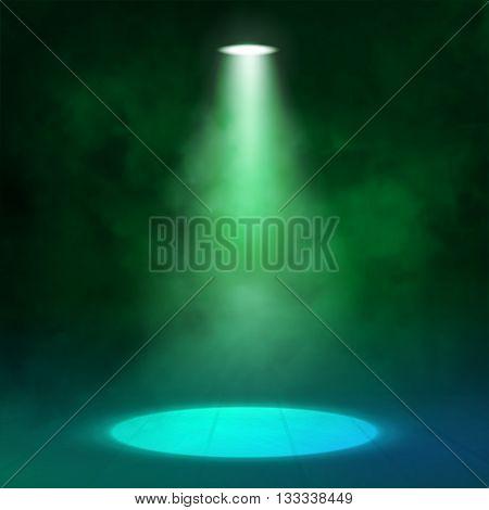 Lantern spotlight illuminates wooden scene. Green color. Vector illustartion