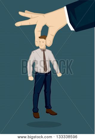 Vector illustration huge hand picking up a man. Creative vector illustration on handpicking the best man for the job concept isolated on green background.