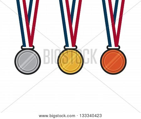 Set of gold, silver, bronze medal flat design vector illustration