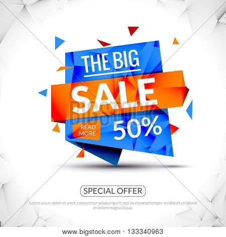 Super Big Sale paper origami banner. Sale background. Big sale tag. Sale poster. Huge Sale special offer 50 percents off. Vector illustration