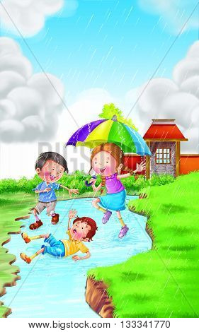 Rain Rhyme kids having fun in Rain