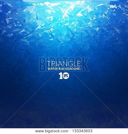 Vector Abstract triangle underwater background with sunlight, abstract texture, abstract space background, abstract ocean background.