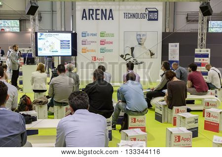 People Visiting Tecnology Hub In Milan, Italy